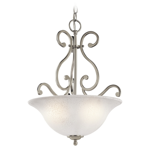 Kichler Lighting Kichler Pendant Light with White Glass in Brushed Nickel Finish 43227NI