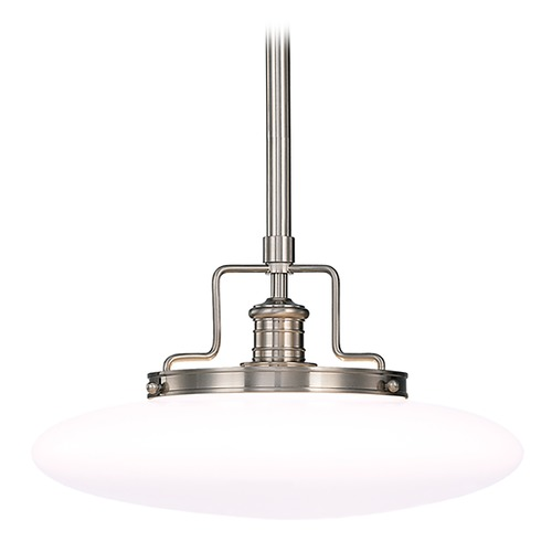 Hudson Valley Lighting Modern Pendant Light with White Glass in Satin Nickel Finish 4225-SN