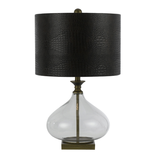 AF Lighting Table Lamp with Black Shade in Antique Brass Finish 8473-TL