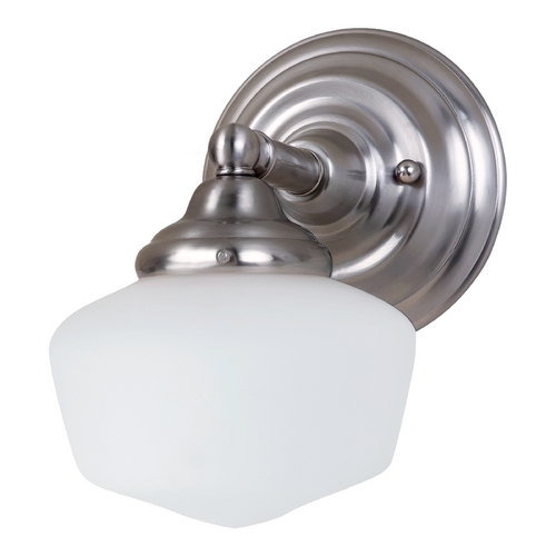 Sea Gull Lighting Schoolhouse Sconce Wall Light with White Glass in Brushed Nickel Finish 44436-962