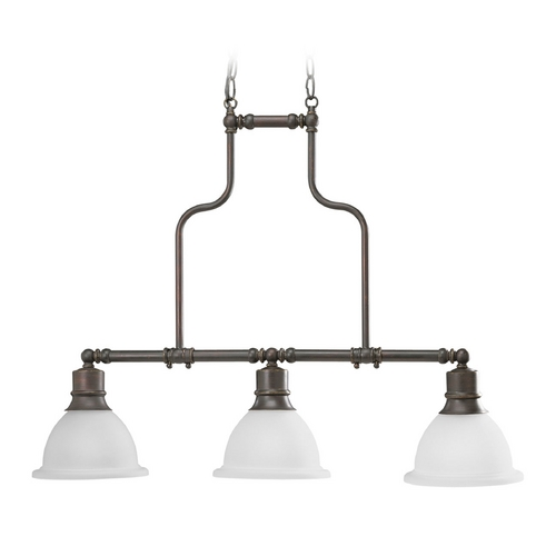 Progress Lighting Progress Island Light with White Glass in Antique Bronze Finish P4282-20