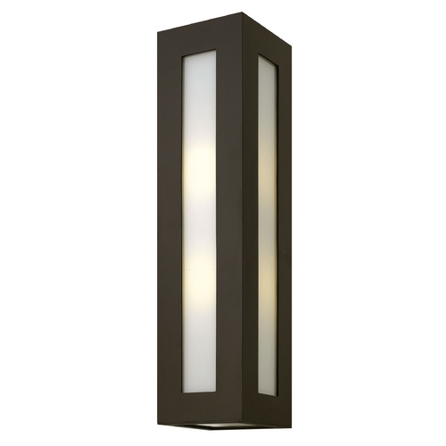 Hinkley Lighting Modern Outdoor Wall Light with White Glass in Bronze Finish 2195BZ-GU24