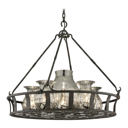 Troy Lighting Pendant Light with Mercury Glass in Chianti Bronze Finish F3598