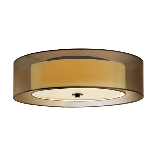 Sonneman Lighting Sonneman Puri Black Brass 2 Light Flushmount Light with Drum Shade 6013.51