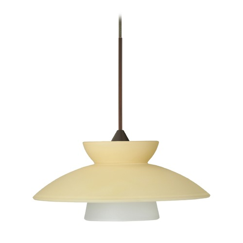 Besa Lighting Besa Lighting Trilo Bronze Mini-Pendant Light with Urn Shade 1XT-271897-BR