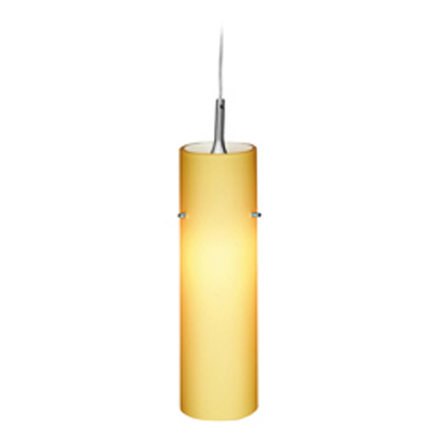 Access Lighting Access Lighting Delta Brushed Steel Mini-Pendant Light with Cylindrical Shade 97932-BS/AMB