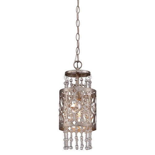 Minka Lavery Minka Lucero Florentine Silver Mini-Pendant Light with Cylindrical Shade 4841-276