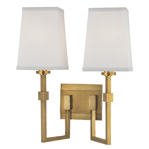 Hudson Valley Lighting Fletcher 2 Light Sconce Square Shade - Aged Brass 1362-AGB