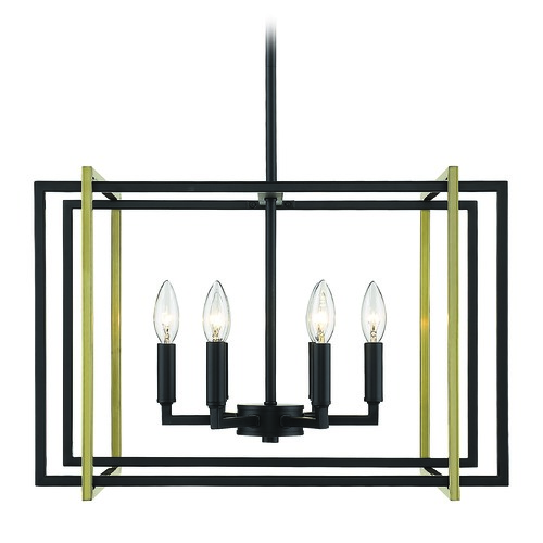 Golden Lighting Golden Lighting Tribeca Black Mini-Chandelier 6070-6BLK-AB