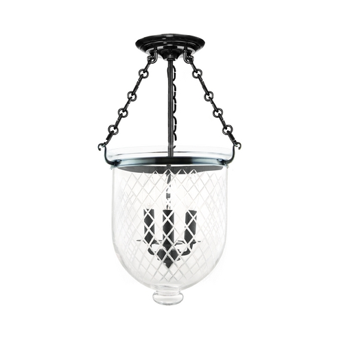 Hudson Valley Lighting Semi-Flushmount Light with Clear Glass in Historic Nickel Finish 253-HN-C2