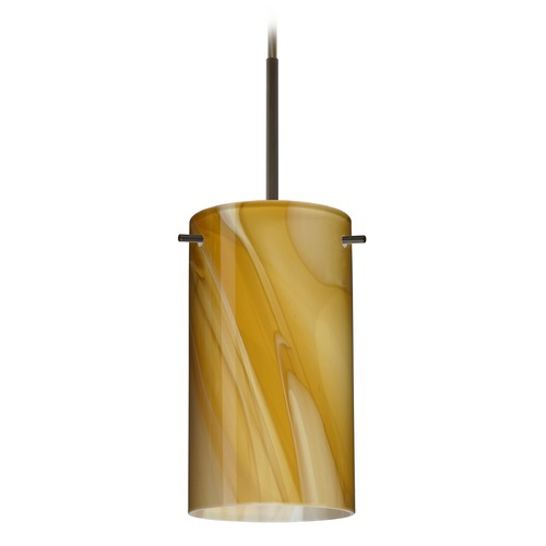 Besa Lighting Besa Lighting Stilo Bronze Mini-Pendant Light with Cylindrical Shade 1BT-4404HN-BR