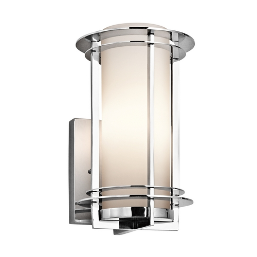 Kichler Lighting Kichler Outdoor Wall Light with White Glass in Stainless Steel Finish 49344PSS316