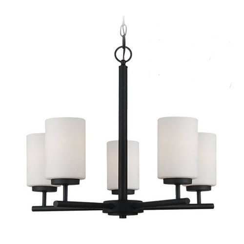 Sea Gull Lighting Modern Chandelier with White Glass in Blacksmith Finish 31161-839