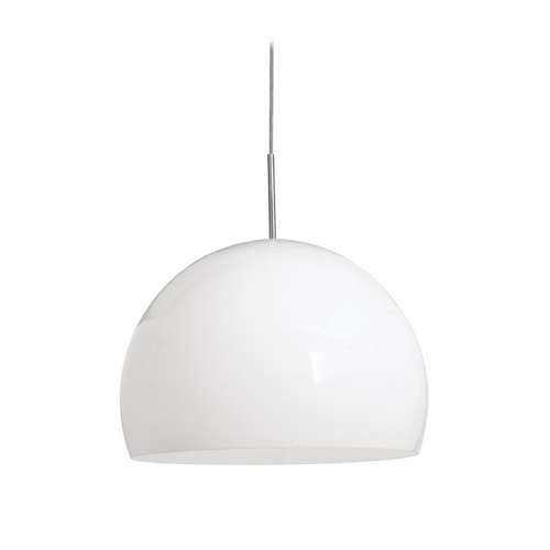 Access Lighting Modern Pendant Light with White Acrylic Shade in Brushed Steel Finish 23760-1C-BS/AWH