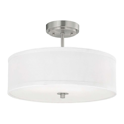 Design Classics Lighting Modern Semi-Flush Ceiling Light with White Drum Shade - 16-Inches Wide DCL 6543-09 SH7492 KIT