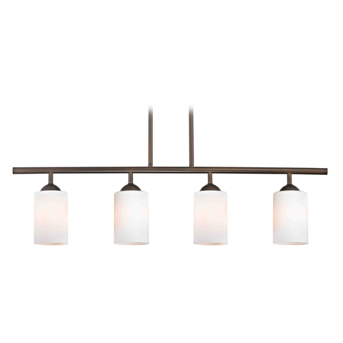 Design Classics Lighting Modern Island Light with White Glass in Neuvelle Bronze Finish 718-220 GL1024C
