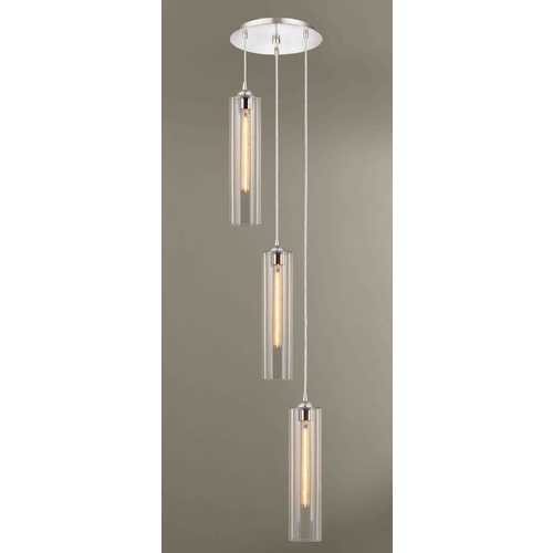 Design Classics Lighting Satin Nickel Multi-Light Pendant with Cylindrical Shade 583-09 GL1640C