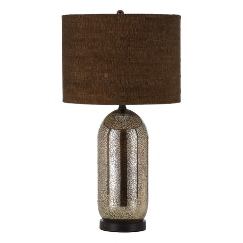 AF Lighting Table Lamp with Brown Cork Shade in Oil Rubbed Bronze, Silver, Glass Finish 8476-TL