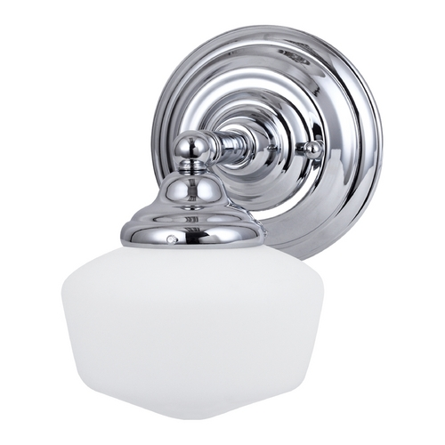 Sea Gull Lighting Schoolhouse Sconce Wall Light with White Glass in Chrome Finish 44436BLE-05