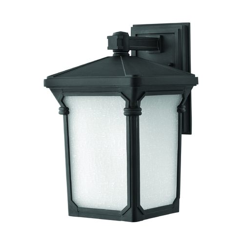 Hinkley Lighting LED Outdoor Wall Light with White Glass in Museum Black Finish 1354MB-LED