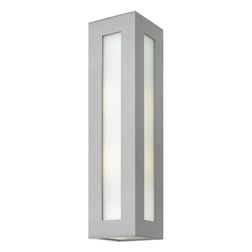 Hinkley Lighting Modern Outdoor Wall Light with White Glass in Titanium Finish 2195TT