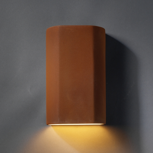 Justice Design Group Sconce Wall Light in Real Rust Finish CER-5500-RRST