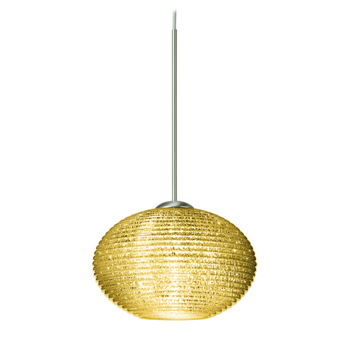 Besa Lighting Besa Lighting Lasso Ribbed Glass Satin Nickel Mini-Pendant Light 1XT-5612GD-SN