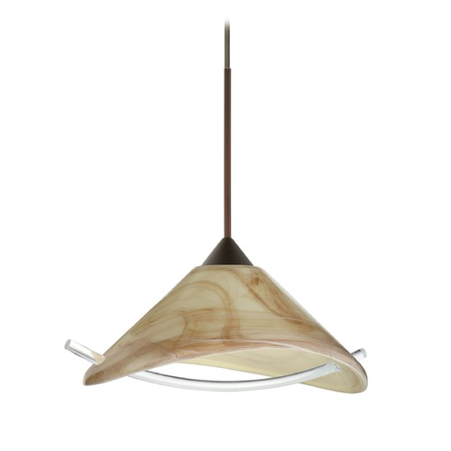 Besa Lighting Besa Lighting Hoppi Bronze LED Mini-Pendant Light with Conical Shade 1XT-181305-LED-BR
