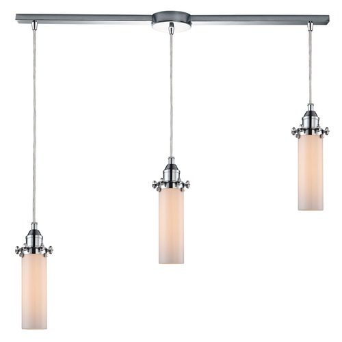Elk Lighting Elk Lighting Fulton Polished Chrome Multi-Light Pendant with Cylindrical Shade 66316/3L