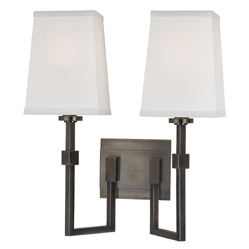 Hudson Valley Lighting Fletcher 2 Light Sconce Square Shade - Historic Nickel 1362-HN