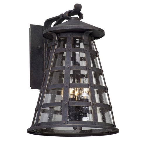 Troy Lighting Seeded Glass Outdoor Wall Light Vintage Iron Troy Lighting B5163