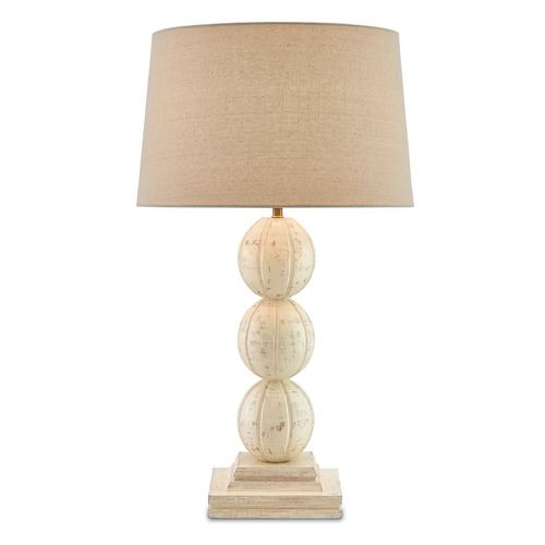 Currey and Company Lighting Currey and Company Spencer Weathered White/antique Brass Table Lamp with Empire Shade 6000-0061