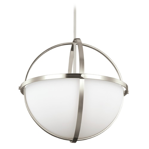 Sea Gull Lighting Sea Gull Lighting Alturas Brushed Nickel LED Pendant Light with Bowl / Dome Shade 6624603EN3-962