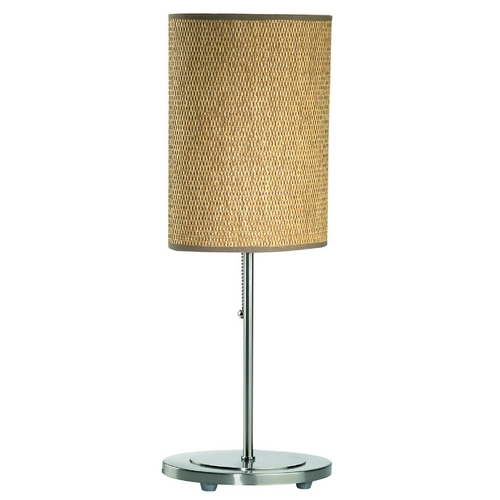Lite Source Lighting Table Lamp with Brown Wicker Shade in Polished Steel Finish LS-2051PS/RATT