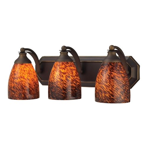 Elk Lighting Bathroom Light with Art Glass in Aged Bronze Finish 570-3B-ES