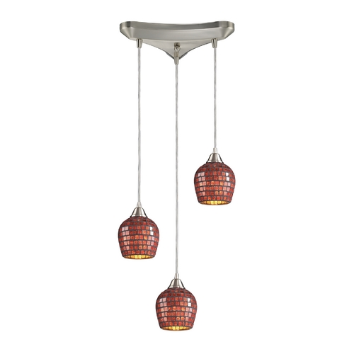 Elk Lighting Modern Multi-Light Pendant Light with Brown Glass and 3-Lights 528-3CPR