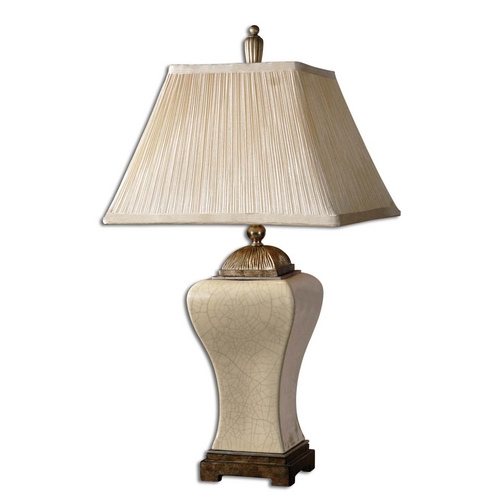 Uttermost Lighting Table Lamp with Silver Shade in Aged Ivory Finish 27728