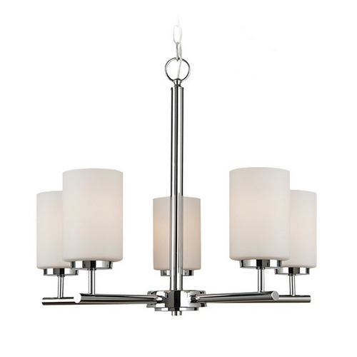 Sea Gull Lighting Modern Chandelier with White Glass in Chrome Finish 31161BLE-05