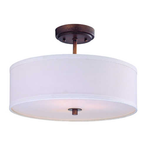 Design Classics Lighting Drum Ceiling Light with Bronze Finish and White Shade 16-Inches Wide DCL 6543-604 SH7492 KIT