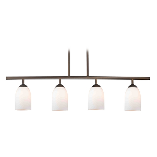 Design Classics Lighting Modern Island Light with White Glass in Neuvelle Bronze Finish 718-220 GL1024D