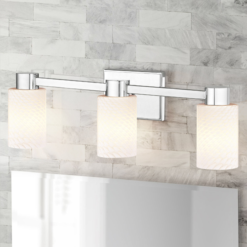 Design Classics Lighting 3-Light White Art Glass Vanity Light Chrome 2103-26 GL1020C