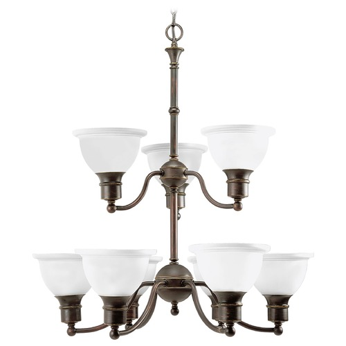 Progress Lighting Progress Chandelier with White Glass in Antique Bronze Finish P4283-20