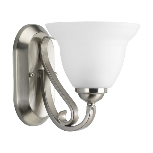 Progress Lighting Progress Sconce Wall Light with White Glass in Brushed Nickel Finish P2881-09
