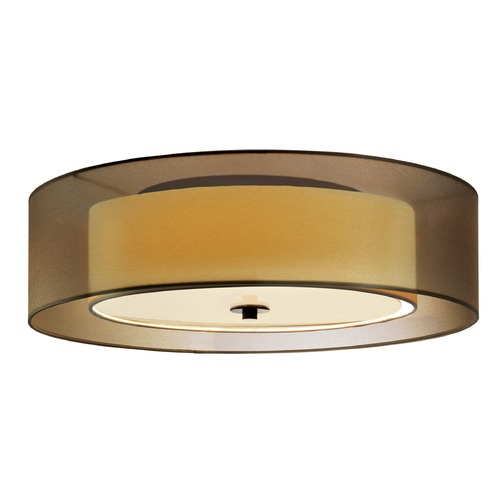 Sonneman Lighting Sonneman Puri Black Brass 3 Light Flushmount Light with Drum Shade 6014.51