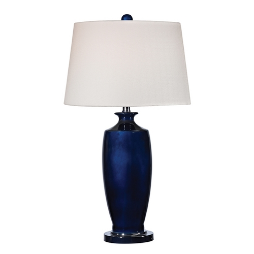 Dimond Lighting LED Table Lamp with White Shades in Navy Blue with Black Nickel Finish D2524-LED