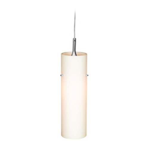 Access Lighting Access Lighting Delta Brushed Steel Mini-Pendant Light with Cylindrical Shade 97932-BS/OPL