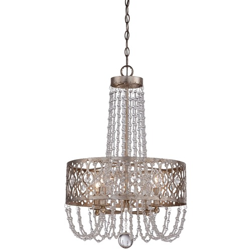Minka Lavery Minka Lucero Florentine Silver Pendant Light with Drum Shade 4844-276