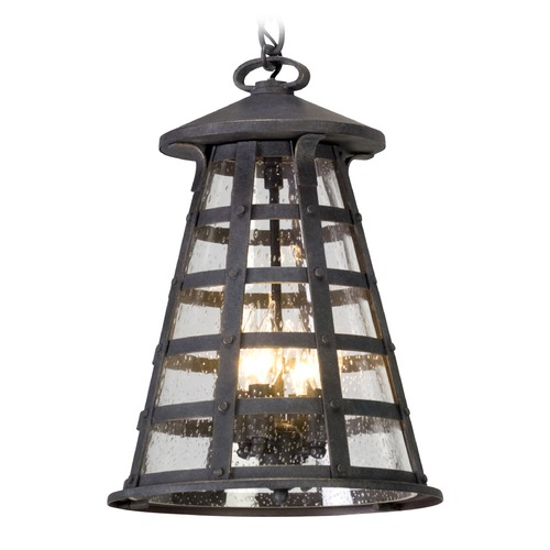 Troy Lighting Seeded Glass Outdoor Hanging Light Vintage Iron Troy Lighting F5167
