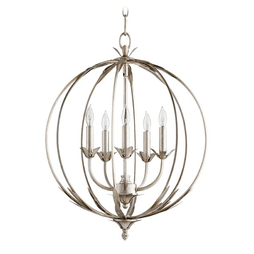 Quorum Lighting Quorum Lighting Flora Aged Silver Leaf Pendant Light 6372-5-60