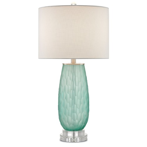 Currey and Company Lighting Currey and Company Raffine Sea Green/clear Table Lamp with Drum Shade 6000-0062